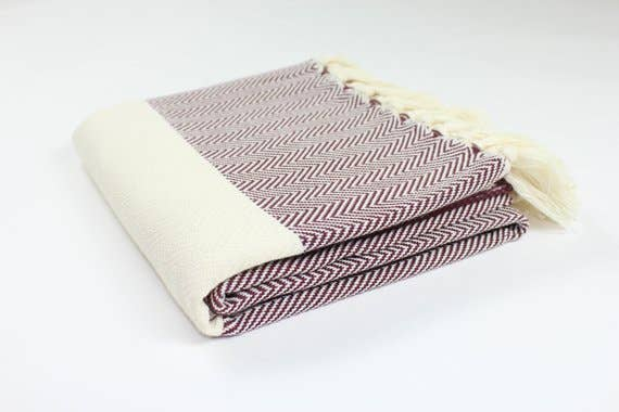 TURKISH LINEN & TOWELS, LLC - Brown - Premium Turkish Herringbone Pattern Towel