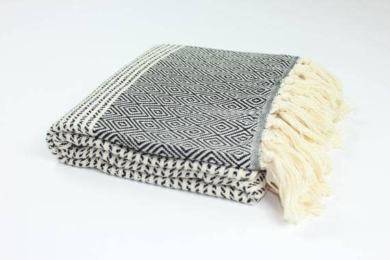 TURKISH LINEN & TOWELS, LLC - Premium Turkish Striped Diamond Pattern Towel