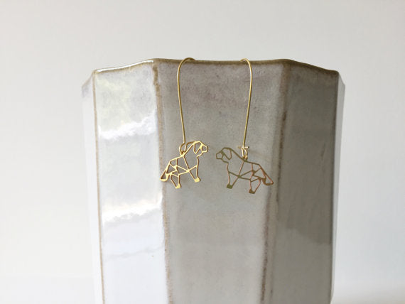 A Tea Leaf Jewelry - Dog Geometric Earrings | Brass