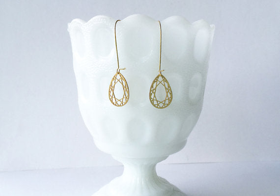 A Tea Leaf Jewelry - Pear Cut Gem Earrings | Brass