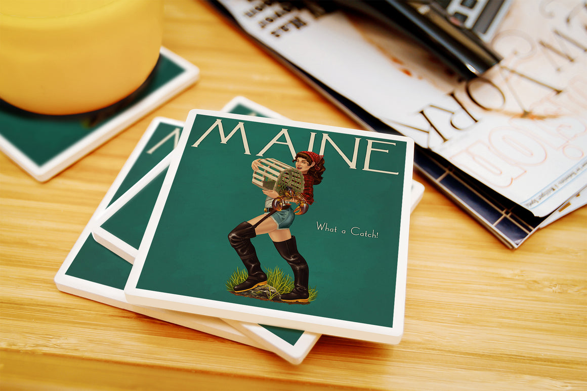Lantern Press - Maine - Lobster Fishing Pinup Ceramic Coasters