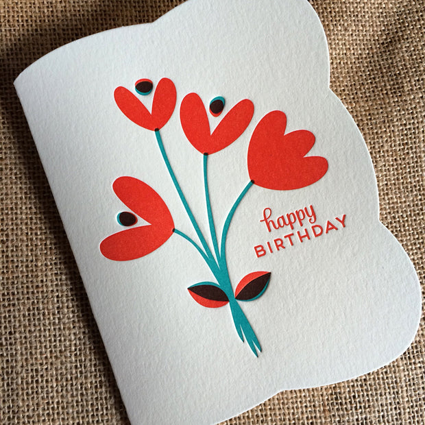 Night Owl Paper Goods - Tulips Letterpress Birthday Card