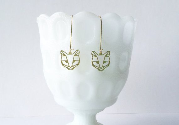 A Tea Leaf Jewelry - Cat Face Earrings | Brass
