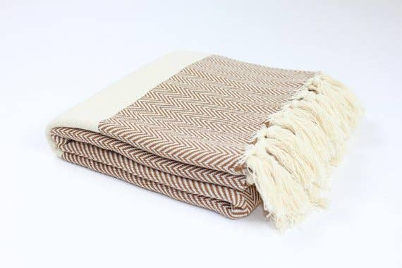 TURKISH LINEN & TOWELS, LLC - Premium Turkish Herringbone Pattern Towel