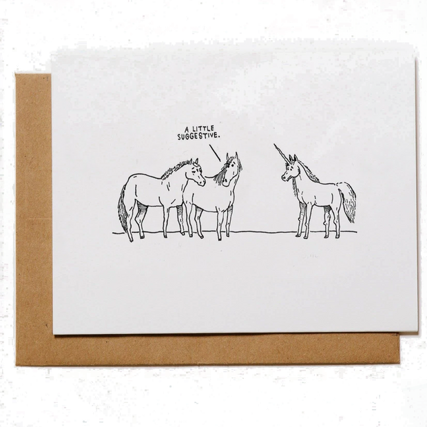 Mountain vs Plains - Suggestive Unicorns Greeting Card
