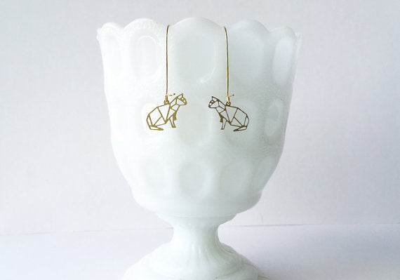 A Tea Leaf Jewelry - Kitty Cat Earrings | Brass