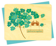 Night Owl Paper Goods - Blue Flower Squirrels Wood Love Card