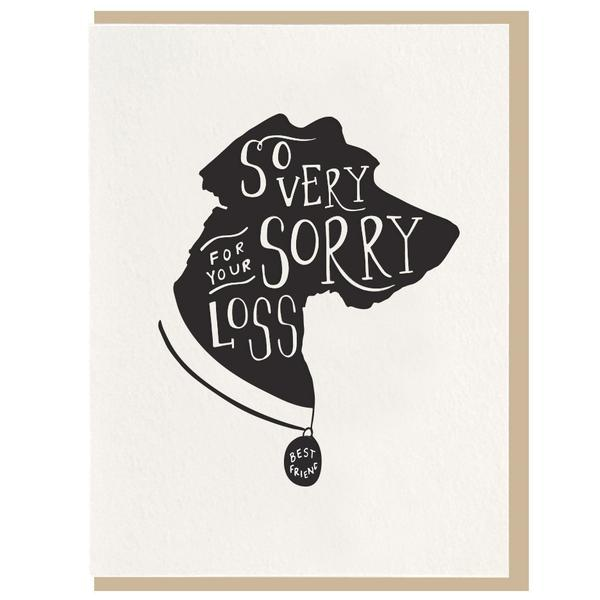 Dahlia Press - So Very Sorry Dog Sympathy Greeting Letterpress