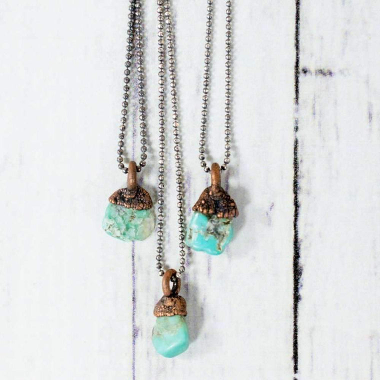 "Turquoise Necklace - 18"" Sterling Chain"