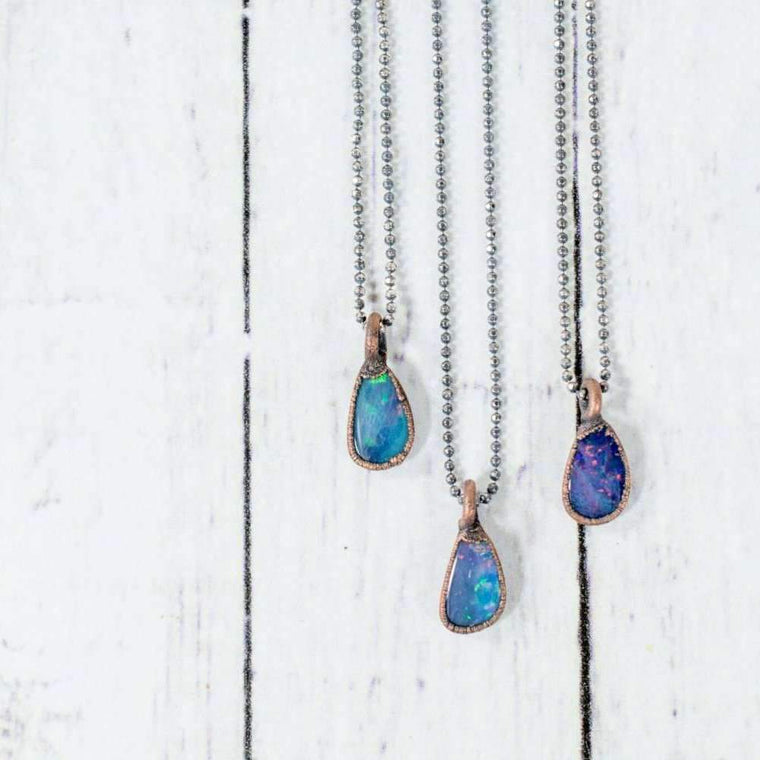"Opal Necklce - 18"" Sterling Chain"