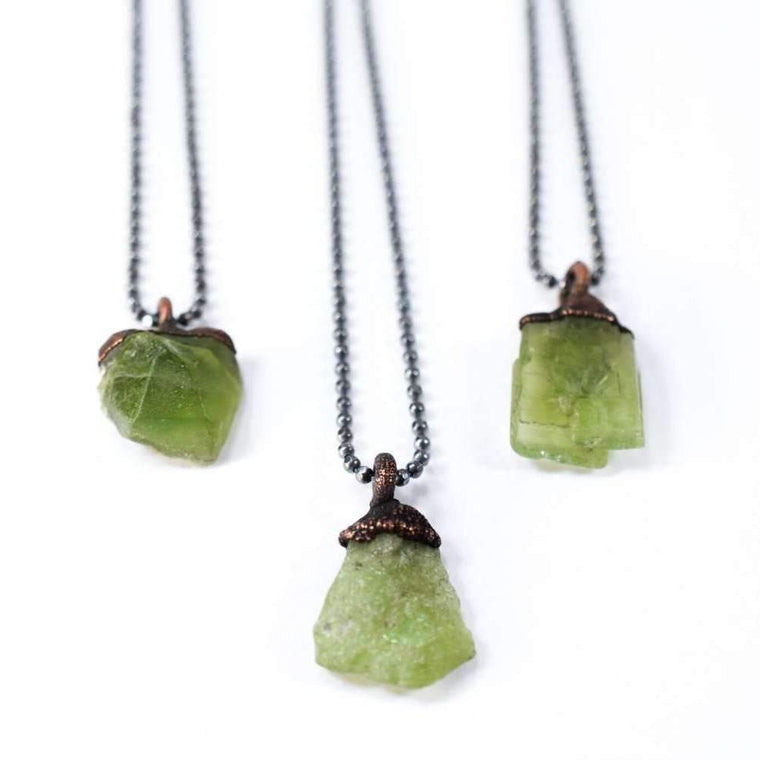 "Raw Peridot Necklace - 18"" Sterling Chain"