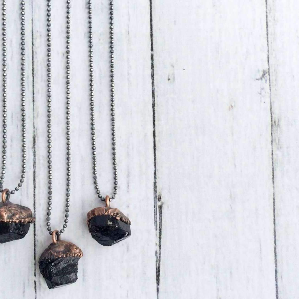 "Raw Black Tourmaline Necklace - 18"" Sterling Chain"