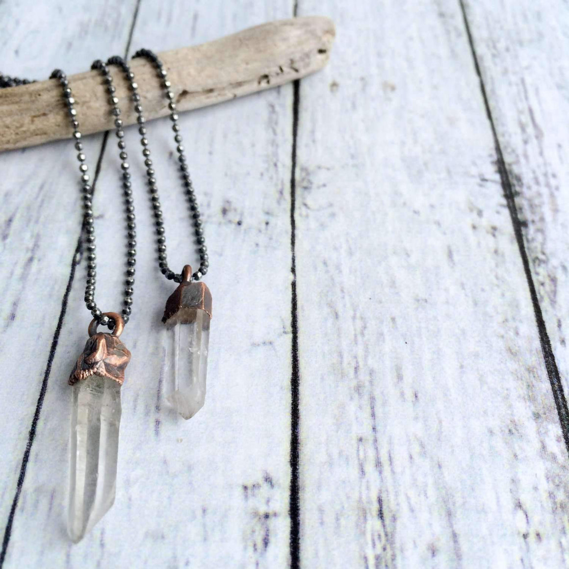 "Long Quartz Necklace - 18"" Sterling Chain"