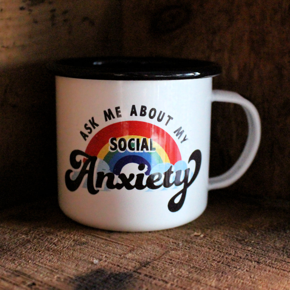 Social Anxiety Enamel Mug