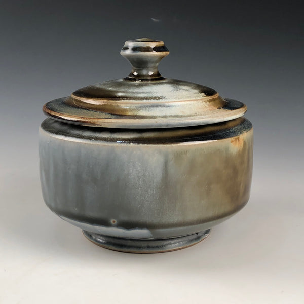 Lidded Jar Blue Ash