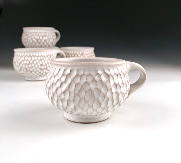Carved White Mug