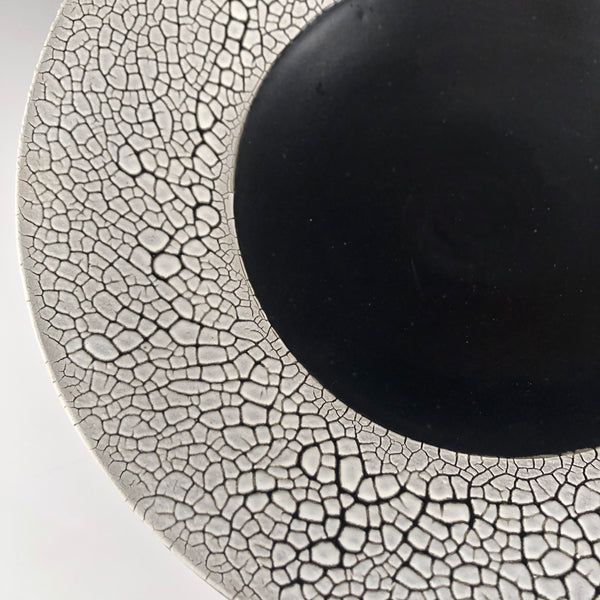 Pasta Bowl with Black and White Crawling Glaze