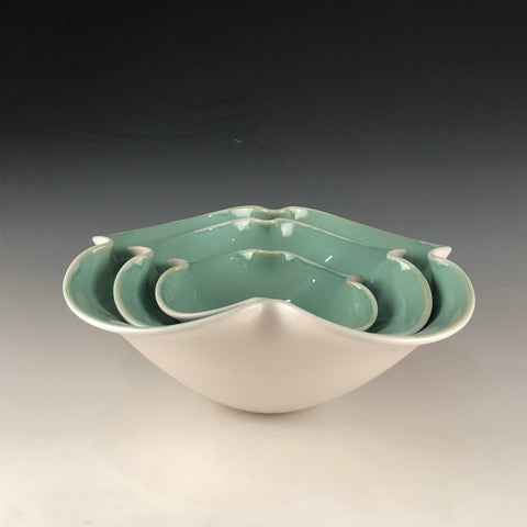 Green and White Nesting Bowls - Set of Bowls