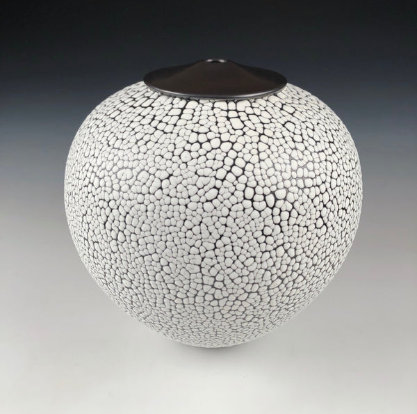 Stoneware Orb with Crawling Glaze