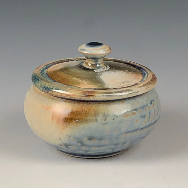 Salt Cellar - Tiny Lidded Jar in Blue Ash Glaze