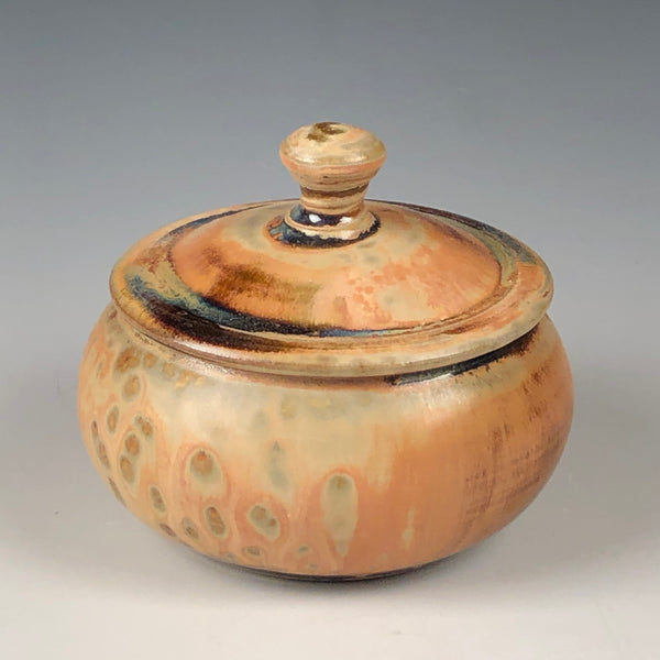 Salt Cellar - Tiny Lidded Jar in Tan Ash Glaze