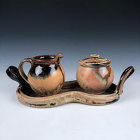 Tan Ash Cream And Sugar Set