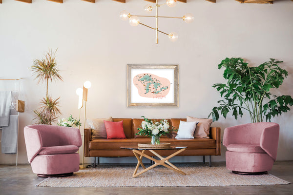 Living room decor featuring Great Life Map print.