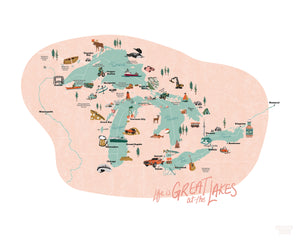 Great Lakes Map Print