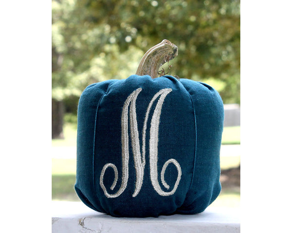 Fall Decor Monogrammed Pumpkin, Blue Pumpkin, Farmhouse Decor, Fall Decorations, Autumn Decor, Personalized Pumpkin, Modern Farmhouse