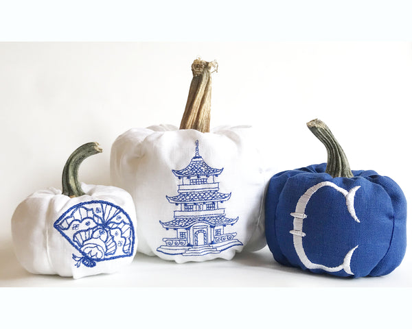 Chinoiserie Pumpkin, Pumpkin Decor, Fabric Pumpkins, Fall Decor, Autumn, Thanksgiving Decor, Blue Willow Pumpkins, Set of 3