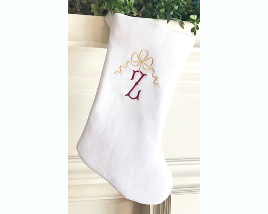 Personalized Christmas Stocking Gold and Red Holiday Stocking Heirloom Bow with Monogram Stocking White Christmas Luxury Holiday Decor