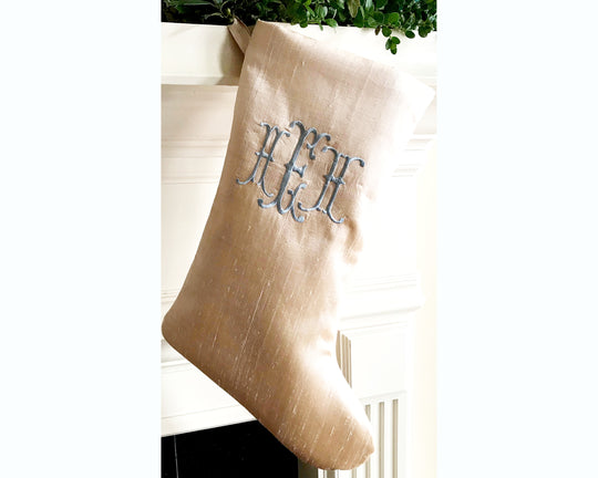 Silk Dupioni Monogrammed Christmas Stocking, Personalized Holiday Stocking, Champagne Bayou Blue Luxe Lettered, Blue and White Christmas