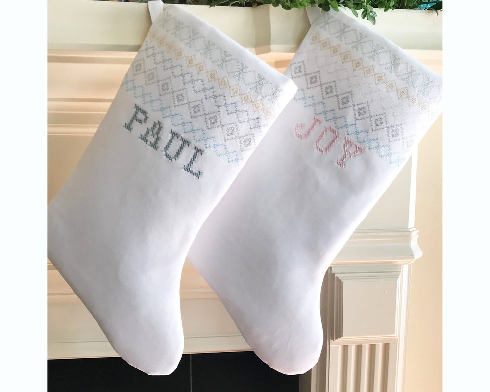 Modern Holiday Stocking Scandinavian Christmas Cross Stitch Monogrammed Blue White Champagne Christmas Decor Personalized Christmas Stocking