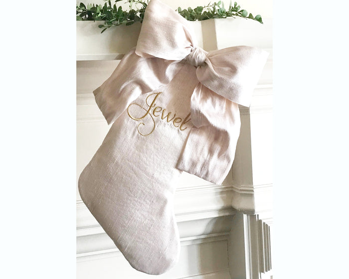Silk Bow Blush Christmas Stocking, Personalized Luxury Holiday Stocking, Monogrammed Silk Christmas Stocking, Pink & Gold Christmas Decor