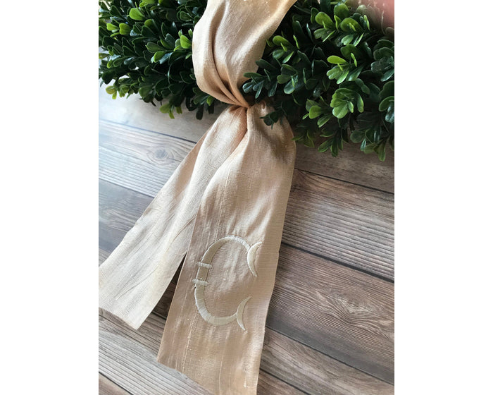 Maison Personalized Wreath Sash in Pearl, Monogrammed Sash for Wreath, Front Door Decor, Holiday Wreath Sash, Monogrammed Ribbon for Wreath