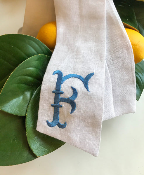 Maison Monogrammed Wreath Sash, Personalized Wreath Sash, Monogrammed Sash for Wreath, Summer Decor, Summer Door Decor, Summer Decorating