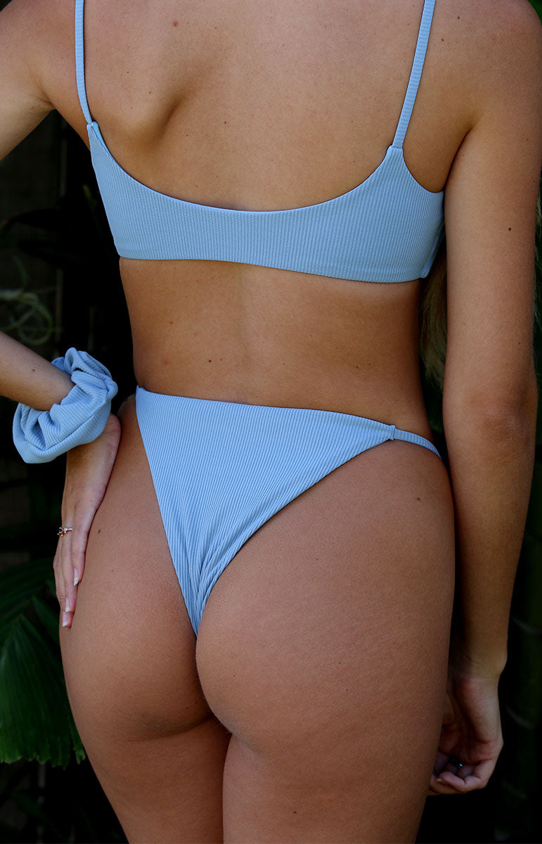 rain alana bottom ribbed reversible blue swimwear from tai swim co