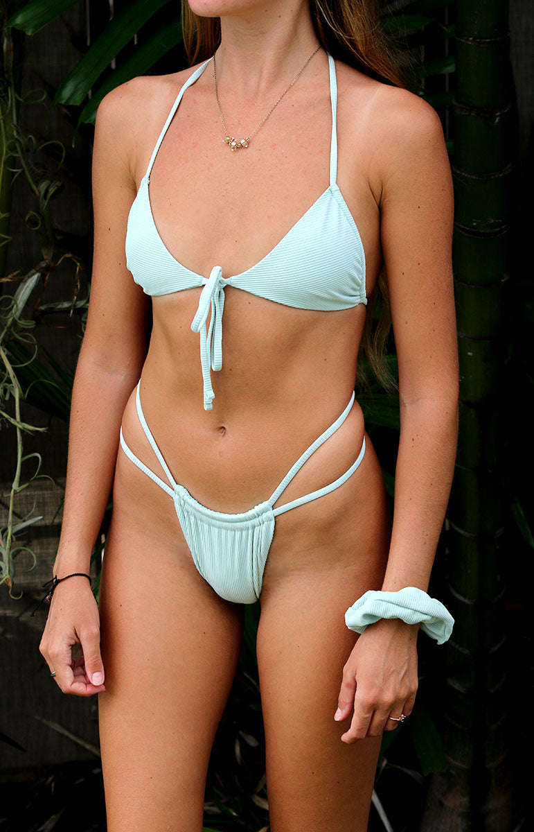 ribbed cheeky sea foam joelle bottom with matching eco friendly top from tai swim co in kailua hawaii