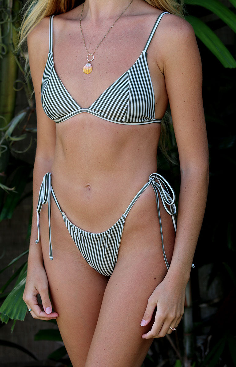 strappy fixed thin triangle hippie striped bikini lauryn top in bamboo tai swim co