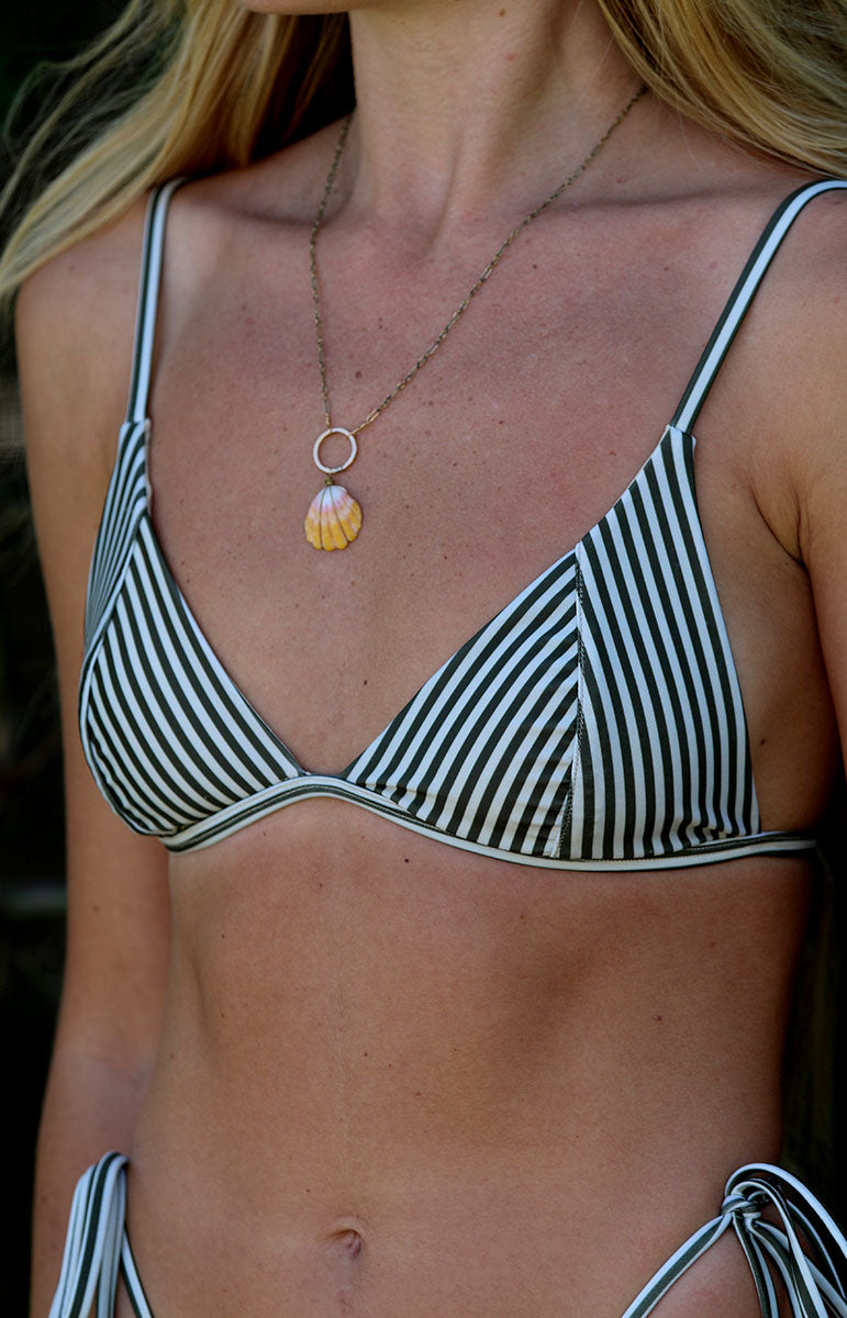 tai swim co fixed triangle lauryn top kailua hawaii eco friendly sustainable striped brown swimwear