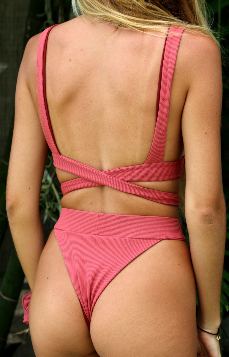 tai swim co crossed back ribbed lindsay top in hibiscus pink with matching high waisted small batch cheeky bottoms