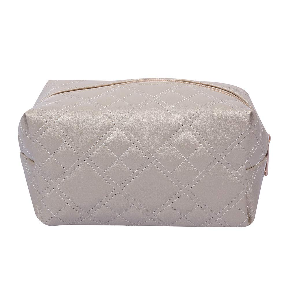 Quilted Design Cosmetic Bag(Gold)