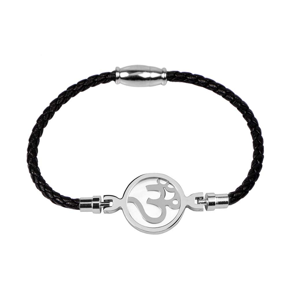 Black Leather Rope Om Bracelets