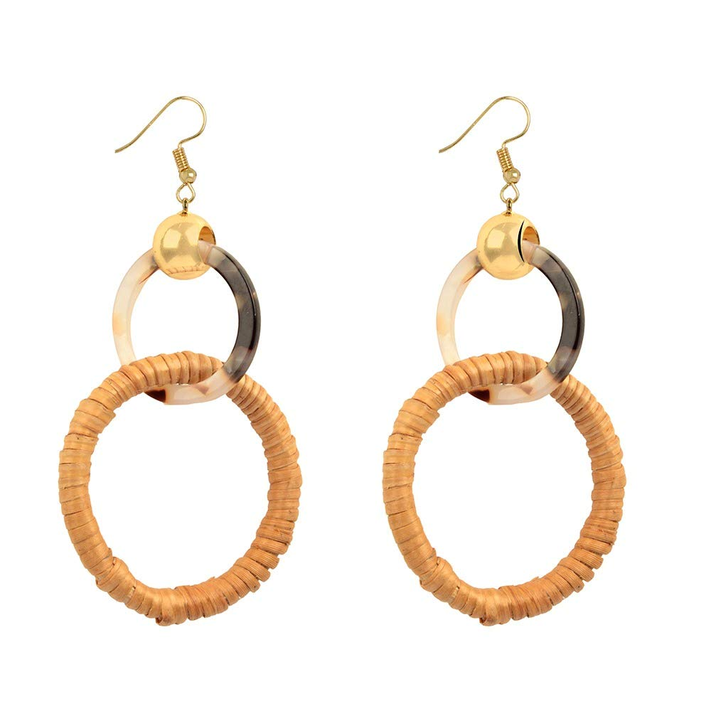 STRIPES Diwali Offer Brown with Acrylic Round Cane Hoop Earrings For Women/Girls