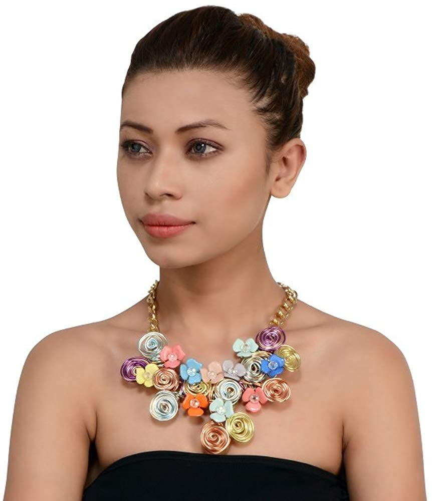 Coil with Flower Statement Necklace for Women