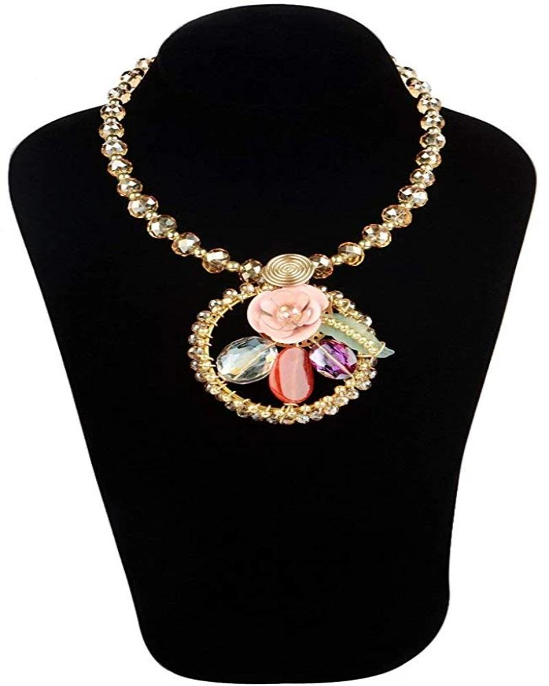 Pink Flower Design Pendent Necklace