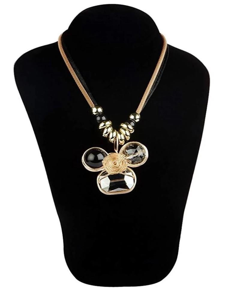 Double Layer with Crystal Pendant Necklace