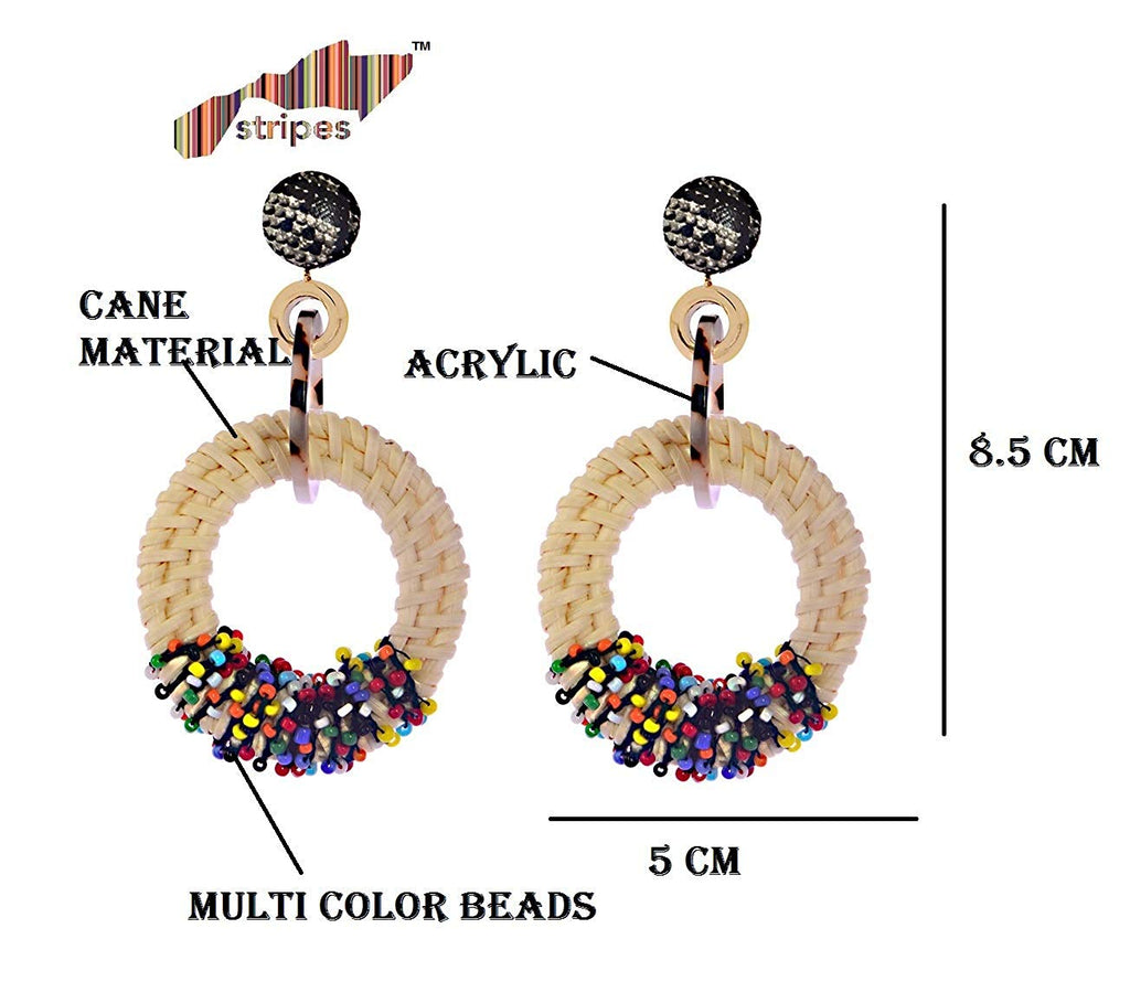 Beaded Hoop/Round Cane Earrings