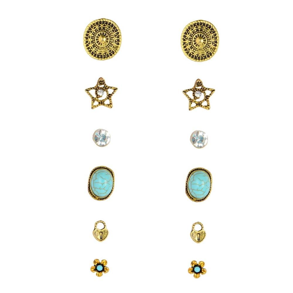 Combo Gold Star Pair Of 6 Stud Earrings