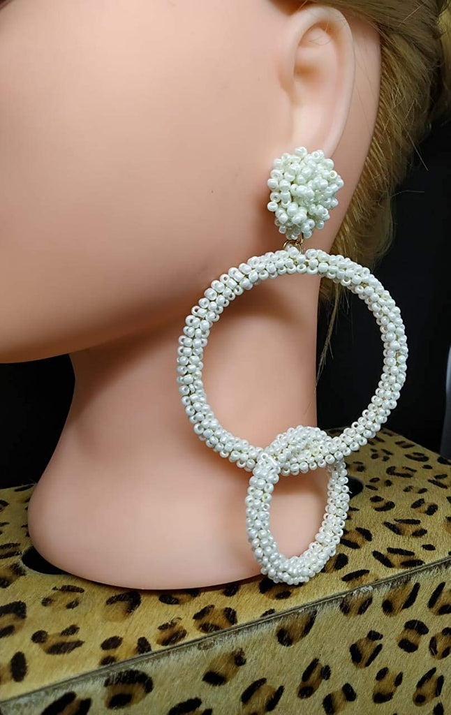 White Full Beaded Double Hoop Long Earrings